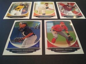 Bowman Chrome Prospects- Michael Snyder #BCP46 & Wilfredo Rodriguez #BCP58 & Bowman Prospects- Gregory Polanco #BP79, Clayton Blackburn #BP98, & Jonathan Griffin #BP2